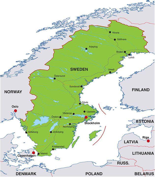karte von schweden Karte von Schweden karte von schweden