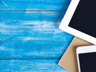 Muscheln und Tablet PC